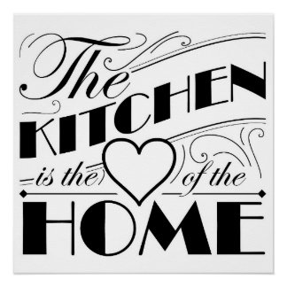 The kitchen is the heart of the home quote design poster