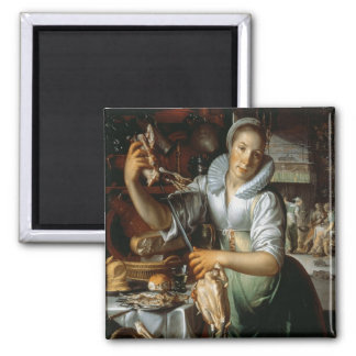 The Kitchen Maid (with Christ, Mary and Martha) c. 2 Inch Square Magnet