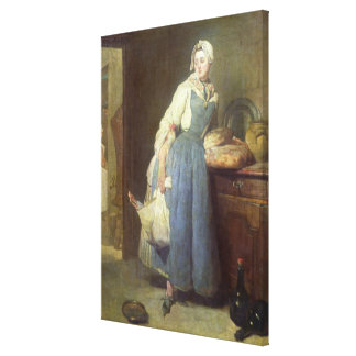 The Kitchen Maid with Provisions, 1739 Canvas Print