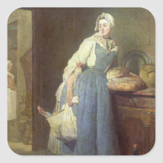 The Kitchen Maid with Provisions, 1739 Square Sticker
