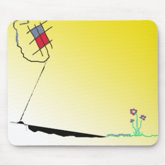The kite, the flowers and the worm mouse pad