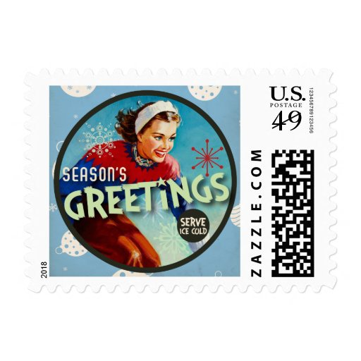 The Kitsch Bitsch: Blue Vintage Season's Greetings Stamp