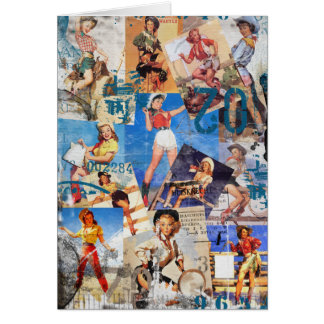 The Kitsch Bitsch : Destroyed Cowgirl Pin-Up No.1 Stationery Note Card