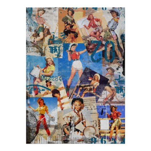 The Kitsch Bitsch : Destroyed Cowgirl Pin-Up No. 1 Print