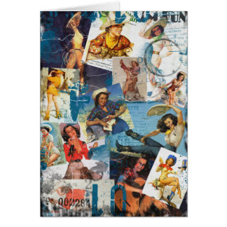 The Kitsch Bitsch : Destroyed Cowgirl Pin-Up No.2 Stationery Note Card