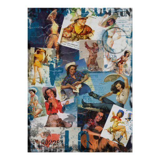 The Kitsch Bitsch : Destroyed Cowgirl Pin-Up No.2 Print