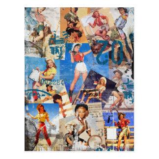 The Kitsch Bitsch : Destroyed Cowgirl Pin-Ups No.1 Postcard