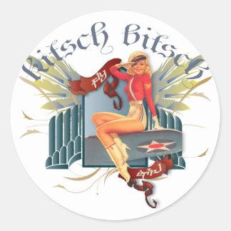 The Kitsch Bitsch : Fly Girl Tattoo Pin-Up Classic Round Sticker