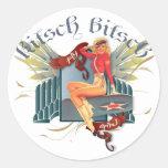 The Kitsch Bitsch : Fly Girl Tattoo Pin-Up Round Sticker