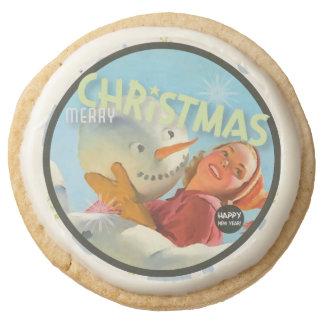The Kitsch Bitsch : Merry Christmas Snowman Round Premium Shortbread Cookie