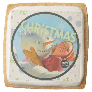 The Kitsch Bitsch : Merry Christmas Snowman Square Premium Shortbread Cookie