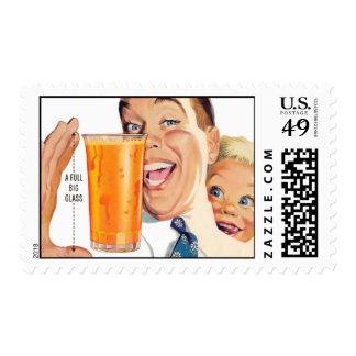The Kitsch Bitsch : Retro Orange Juice Graphic Postage Stamps