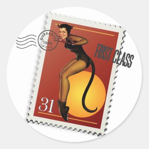 The Kitsch Bitsch : Sexy Black Cat! Classic Round Sticker