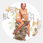 The Kitsch Bitsch : The Tiki Goddess Round Stickers
