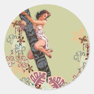 The Kitsch Bitsch : Up A Tiki Tree! Round Stickers