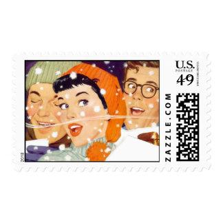 The Kitsch Bitsch : Vintage Winter Graphic Postage Stamp
