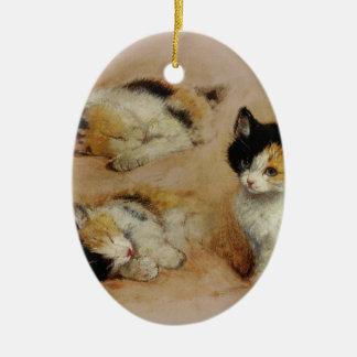 The kitten wakes up ceramic ornament