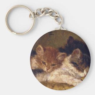 The kitten which sleeps basic round button keychain