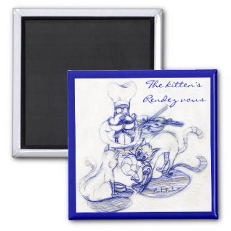 """The kitten's """"rendez vous"""" 2 inch square magnet"""