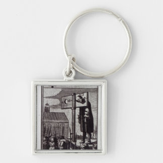 The Knave of Clubs Silver-Colored Square Keychain