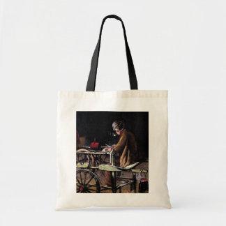 """""""The Knife Grinder""""  Vintage Illustration Tote Bag"""
