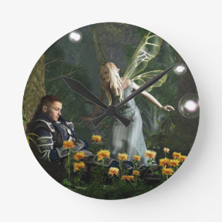 The Knight and The Faerie Round Wallclocks