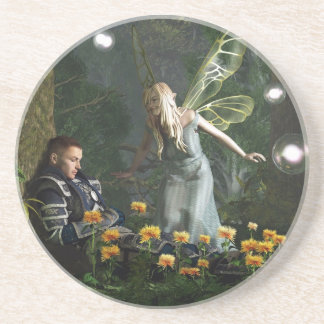 The Knight and The Faerie Drink Coaster