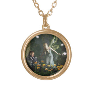 The Knight and The Faerie Gold Plated Necklace