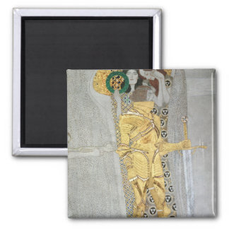 The Knight detail of the Beethoven Frieze 2 Inch Square Magnet
