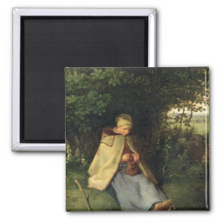 The Knitter or, The Seated Shepherdess, 1858-60 2 Inch Square Magnet