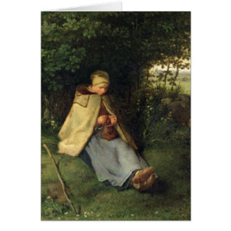 The Knitter or, The Seated Shepherdess, 1858-60 Card