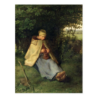 The Knitter or, The Seated Shepherdess, 1858-60 Postcard