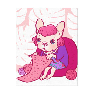 The knitting Frenchie and her scarf Canvas Print