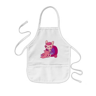 The knitting Frenchie and her scarf Kids' Apron