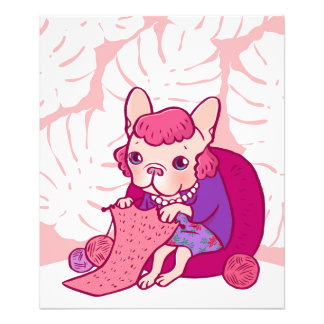 The knitting Frenchie and her scarf Photo Print