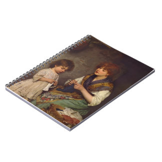 The Knitting Lesson by Eugene de Blaas Spiral Note Book