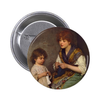 The Knitting Lesson by Eugene de Blaas Pinback Button