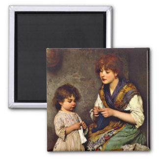 The Knitting Lesson, Eugene de Blaas artist 2 Inch Square Magnet
