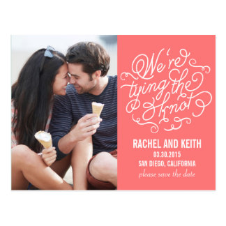 The Knot Save The Date Card - Coral Postcard