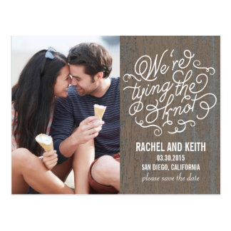 The Knot Save The Date Card - Rustic Bark