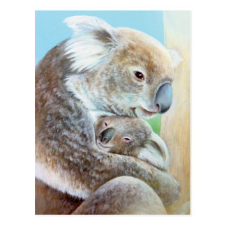 """The Koala cuddle"" portrait fine art postcard"