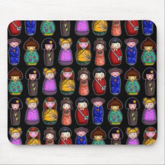 The Kokeshi Girls, patterned mousepad