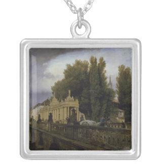 The Konigsbrucke on Konigsstrasse, Berlin, 1835 Silver Plated Necklace