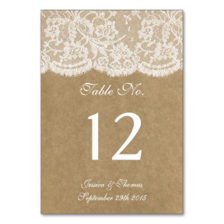The Kraft & Lace Collection Table Number Cards