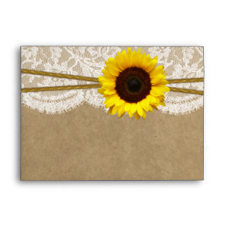 The Kraft, Lace & Sunflower Collection Envelopes