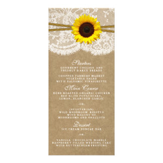 The Kraft, Lace & Sunflower Collection Menu Cards Rack Cards