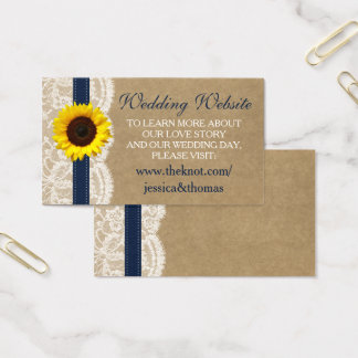 The Kraft, Lace & Sunflower Collection - Navy Business Card