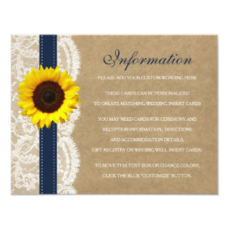 The Kraft, Lace & Sunflower Collection - Navy Card