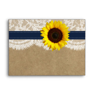 The Kraft, Lace & Sunflower Collection - Navy Envelope
