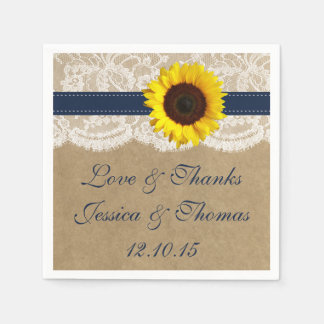 The Kraft, Lace & Sunflower Collection - Navy Paper Napkin